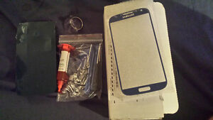 Galaxy s4 Glass screen dark ice blue replacement kit