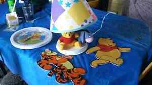 Winnie the pooh lamp and clock and wall decore