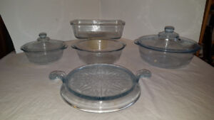 FIRE KING PHILBE BLUE CASSEROLE DISHES , TRIVET , BREAD PAN