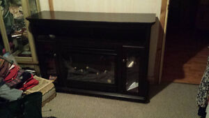 fireplace stand for tv and shelves with glass doors