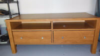 Heavy,solidly built coffee table light oak finish- 2 drawer