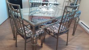 table de cuisine en fer forgé  vitre verre trempée  biseauté