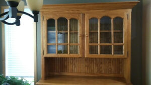 Custom Oak Hutch, immaculate condition, solid wood!