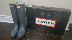 BRAND NEW size 11 WOMAN'S GREY HUNTER RAINBOOTS