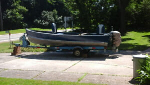16 ft aluminum boat with trailer and motors. all working.