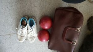 Bowling balls with bag and shoes