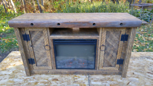 Rustic Barn Wood Fireplace/TV Stand