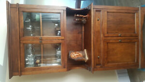 Antique Pantry or Armoire ALL-Wood, Quality design W/GLASS doors