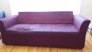 Burgundy couch and love seat