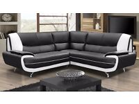 *COME AND VIEW IT ,TRY IT THEN BUY IT* NEW PALERMO CORNER SOFA SUITE BLACK/WHITE OR BROWN/CREME