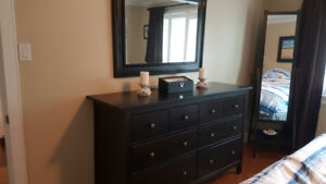 8 Drawer Dresser, 2 nightstands and a mirror