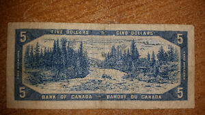 1954 5$ BILL IN GREAT CONDITION FOR THE YEAR only 17$........... London Ontario image 2