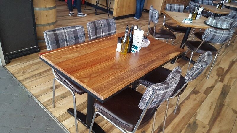 Restaurant solid kiaat wood tables