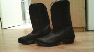 Men's western black leather boots
