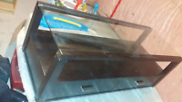 Floating console table with glass top