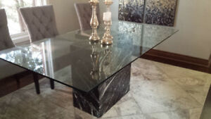 Large Glass Table with Marble Base