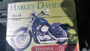 Harley Davidson Sign   Wooden Sign  Approximately 16 inches x 12