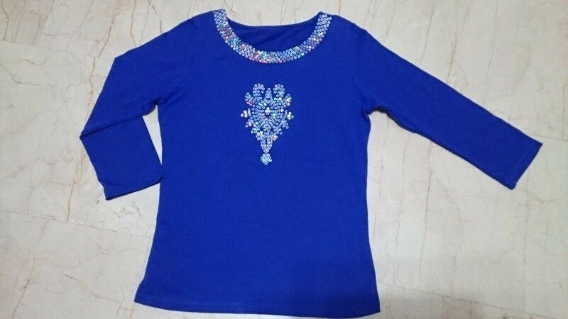 S$2.50 - 3/4 SLEEVE SCOOP NECK ROYAL BLUE KNIT TOP
