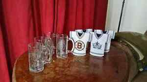 NHL glass etched mugs & beer cozies