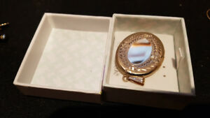 New Large Solid 10k Gold Picture locket Pendant Diamond cut