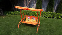 Kids garden swing with canopy