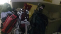 Used golf clubs and bags
