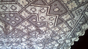 Vintage Crocheted? Tablecloth - Beige-Champagne in Colour Kitchener / Waterloo Kitchener Area image 2
