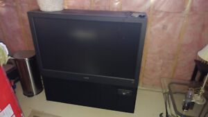 """Free 50"""" rear projection Magnavox HDTV with remote."""