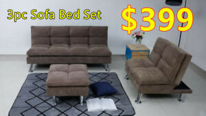 Brand new 3pc sofa bed set on sale! Limited Quantities!
