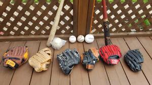 Baseball Gants, Balles et Bâtons pour enfants et adultes