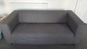 Ikea Klippan 3 seater grey sofa with free red cover