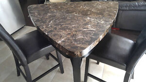 Marble Top Pub Style Kitchen Table Set For Sale!