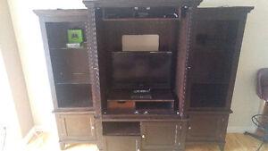 Dark Brown 4 piece entertainment stand/Tv stand
