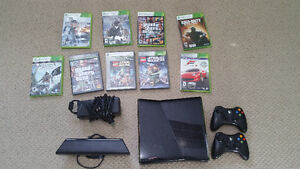 Xbox 360 with 2 controllers, kinect and 9 games
