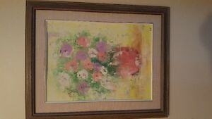 Beautiful original oil on board Impressionist painting - Flowers