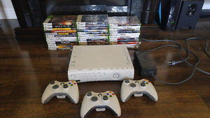 XBOX 360 w 35 Games + 3 Controllers Works Great!