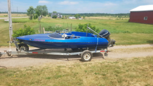 16 ft sidewinder with 85hp and trailer