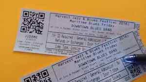 Harvest Jazz & Blues tickets for Friday night.