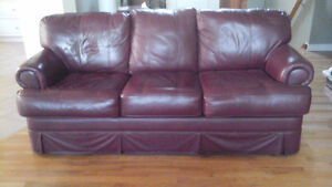 Leather sofa, maroon colour - Excellent condition