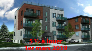 Condo neuf 5 ½ (3 chamb).  Libre 1er mars 2019. St-Constant.