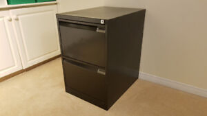 Vertical 2 Draw Metal File Cabinet with Key, Black