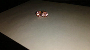 BEAUTIFUL LIGHT PINK AND GOLD CUBIC ZIRCONIA EARRINGS, NEW
