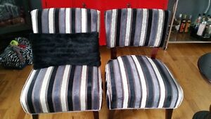 Pair of grey striped slipper chairs