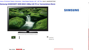 For Sale: SAMSUNG 40-Inch 1080p 60 Hz LCD HDTV