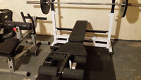 Body Solid bench, weights, bar