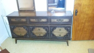 vintage bedset with bedframe, dresser, chest, 2 night stands