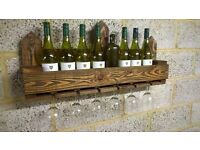 Rustic Wall Mounted Wine Rack / Glass Holder