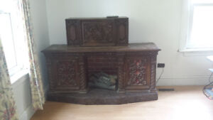 Vintage fireplace stereo cabinet