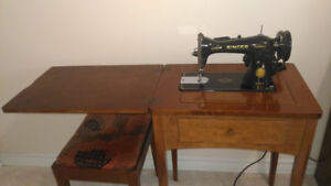 Sewing Machine with Oak Cabinet