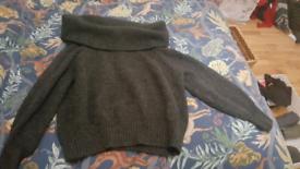 H&M Dark grey off the shoulder jumper size 8/10